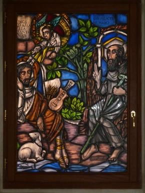 San Millán y San Felices. Vidriera diseñada por Rafael Nieto y realizada por Santiago Barrios y su hijo Nuño